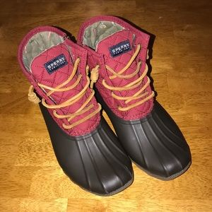 Sperry duck boots red quilted laces 7 sts93028